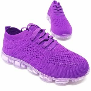 New Purple Knit Lace Up Sneakers